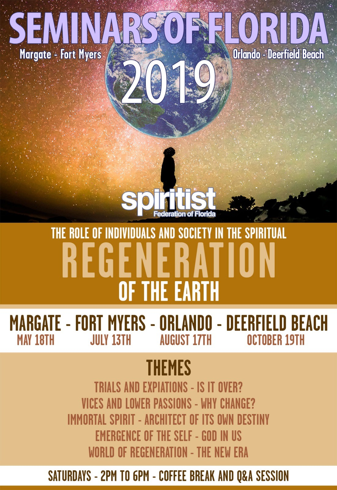 FLORIDA SPIRITIST SEMINARS OF 2019. Main topic: The Role of Individuals and Society in the Spiritual REGENERATION OF THE EARTH wtih David Walkden, Tereza Ayres, Karina Costa, Marcelo Netto and Claudia Mellado